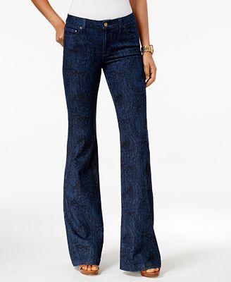 MICHAEL Michael Kors Selma Printed Indigo Wash Wide-Leg Jeans ...