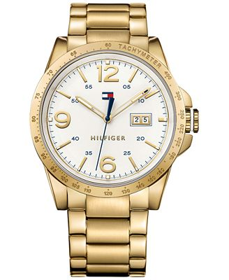 hilfiger s casual sport gold tone ion plated