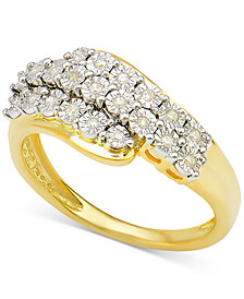 Diamond Cluster Ring (1/10 ct. t.w.) in 14k Gold-Plated Sterling Silver