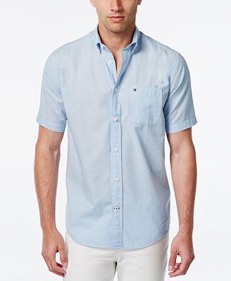 Tommy Hilfiger Men's Wainwright Short-Sleeve Linen Shirt - Casual ...