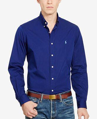 Polo Ralph Lauren Men's Long-Sleeve Poplin Solid Shirt - Casual ...