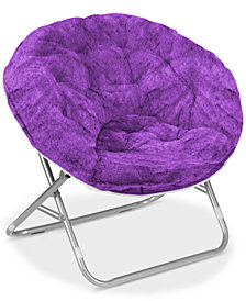 Arron Adult Faux Fur Saucer Chair, Quick Ship