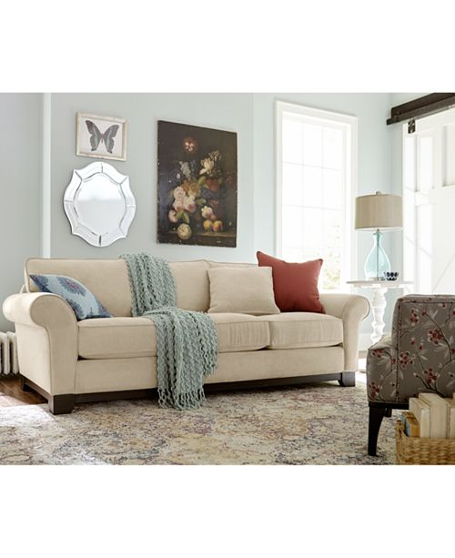 "Macys Sofa: Furniture Medland 89"" Fabric Roll Arm Sofa With 2 Pillows"