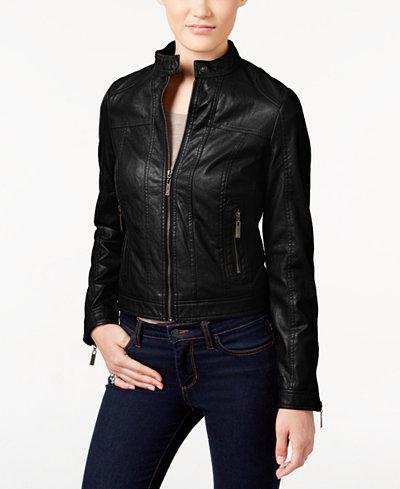 Jou Jou Juniors' Faux-Leather Bomber Jacket