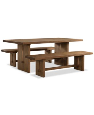 Athena 3 Pc. Dining Set (Dining Trestle Table U0026 2 Benches)