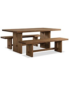 CLOSEOUT! Athena 3-Pc. Dining Set (Dining Trestle Table & 2 Benches)