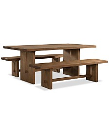 Athena 3-Pc. Dining Set (Dining Trestle Table & 2 Benches)