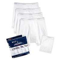 5 Pairs of Jockey Mens Classic Cotton Boxer Briefs (White)