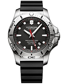 Victorinox Swiss Army Men's Swiss I.N.O.X. Professional Diver Black Rubber Strap Watch 45mm 241733.1