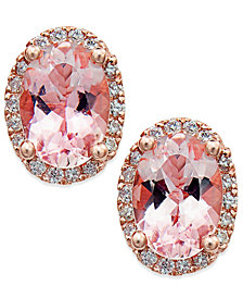 Morganite (1-1/3 ct. t.w.) and Diamond (1/8 ct. t.w.) Stud Earrings in 14k Rose Gold