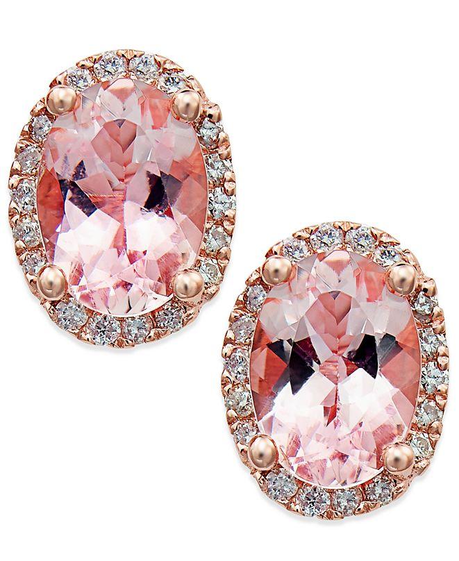 Macy's Morganite (1-1/3 ct. t.w.) and Diamond (1/8 ct. t.w.) Stud Earrings in 14k Rose Gold