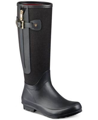 6fa057ede34f TOMMY HILFIGER Billie Leather Over The Knee Boots Womens Shoes ...