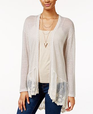 American Rag Lace-Trim Open-Knit Cardigan, Created for Macy's ...