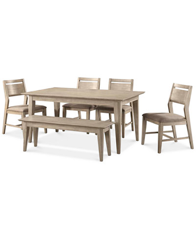 Kips Cove Dining Furniture, 6-Pc. Set (Dining Table, 4 Side Chairs ...