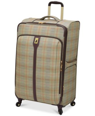 "Image of London Fog Knightsbridge 29"" Expandable Spinner Suitcase, Available in Brown and Grey Glen Plaid, Ma"
