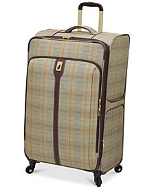 "London Fog Knightsbridge 29"" Expandable Spinner Suitcase, Available in Brown and Grey Glen Plaid, Created for Macy's"