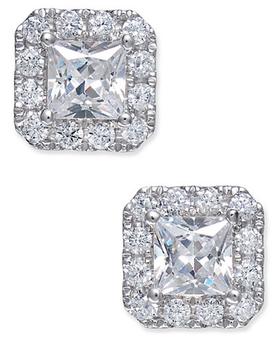 Certified Diamond Square Stud Earrings (1-1/2 ct. tw.) in 18k White Gold