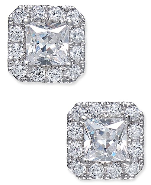 Macy's Diamond Square Stud Earrings (1-1/2 ct. tw.) in 18k White Gold