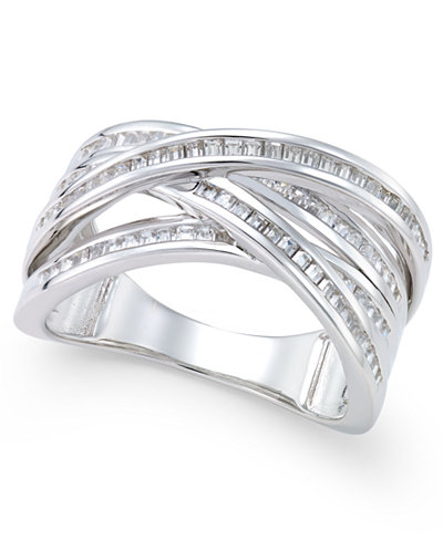 diamond multi row statement ring 1 2 ct t w in 14k. Black Bedroom Furniture Sets. Home Design Ideas