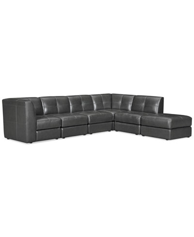CLOSEOUT! Fabrina 6-Pc. Leather Modular with Ottoman, Created for Macy's