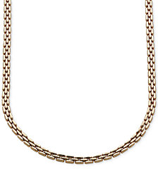 Italian Gold Three Row Link Collar Necklace in 14k Gold