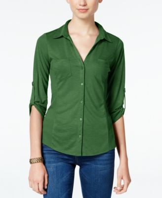 Image of Almost Famous Juniors' Ribbed-Panel Utility Top