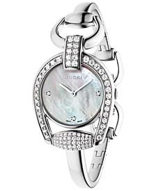 Women's Swiss Horsebit Diamond (1-11/20 ct. t.w.) Stainless Steel Bangle Bracelet Watch 28mm YA139505