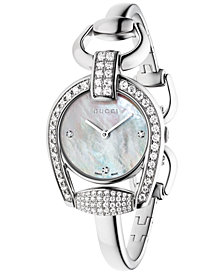 Gucci Women's Swiss Horsebit Diamond (1-11/20 ct. t.w.) Stainless Steel Bangle Bracelet Watch 28mm YA139505