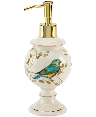 Bath Accessories, Gilded Birds Soap and Lotion Dispenser
