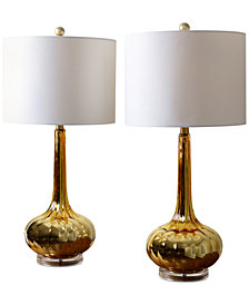 Abbyson Living Set of 2 Mercury Antiqued Glass Table Lamps