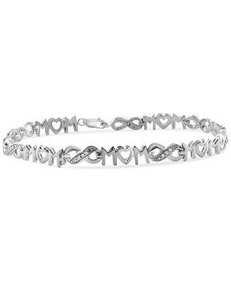 Diamond Mom Bracelet 1 10 ct t w in Sterling Silver
