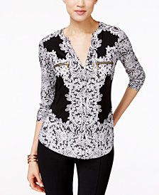 I.N.C. Petite Printed Zip-Pocket Top, Created for Macy's