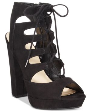 Bar Iii Nelly Lace-Up Block-Heel Platform Sandals, Created for Macy