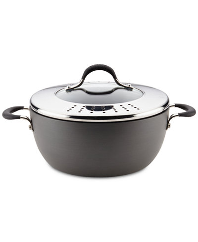 Circulon Momentum Hard-Anodized 5.5-Qt. Casserole with Lock 'n' Strain Lid