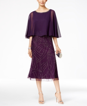 Vintage Inspired Cocktail Dresses, Party Dresses J Kara Beaded Capelet Midi Dress $193.99 AT vintagedancer.com