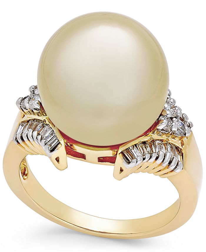 Macy's - Cultured Golden South Sea Pearl (13mm) and Diamond (1/2 ct. t.w.) Statement Ring in 14k Gold