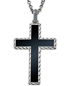 Esquire Men's Jewelry Onyx (40 x 27-1/2mm) Cross Pendant Necklace in Sterling Silver, Created for Macy's