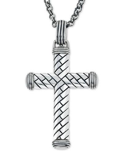 Esquire mens jewelry decorative cross pendant necklace in esquire mens jewelry decorative cross pendant necklace in sterling silver created for macys mozeypictures Gallery