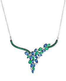Le Vian® Precious Collection Sapphire (3-5/8 ct. t.w.), Emerald (2-1/4 ct. t.w.) and Diamond (1/5 ct. t.w.) Necklace in 14k White Gold, Created for Macy's