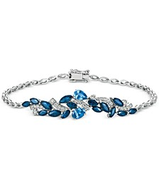 Sapphire (3-3/4 ct. t.w.) and Diamond (1/2 ct. t.w.) Link Bracelet in 14k White Gold, Created for Macy's