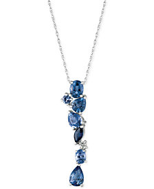 "Le Vian® Ceylon Sapphire (1-5/8 ct. t.w.) and Diamond Accent 18"" Necklace in 14k White Gold, Created for Macy's"