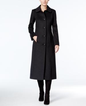 Anne Klein  CLUB COLLAR MAXI WOOL-CASHMERE BLEND COAT