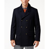 Deals on Lauren Ralph Lauren Luke Wool-Blend Classic-Fit Peacoat