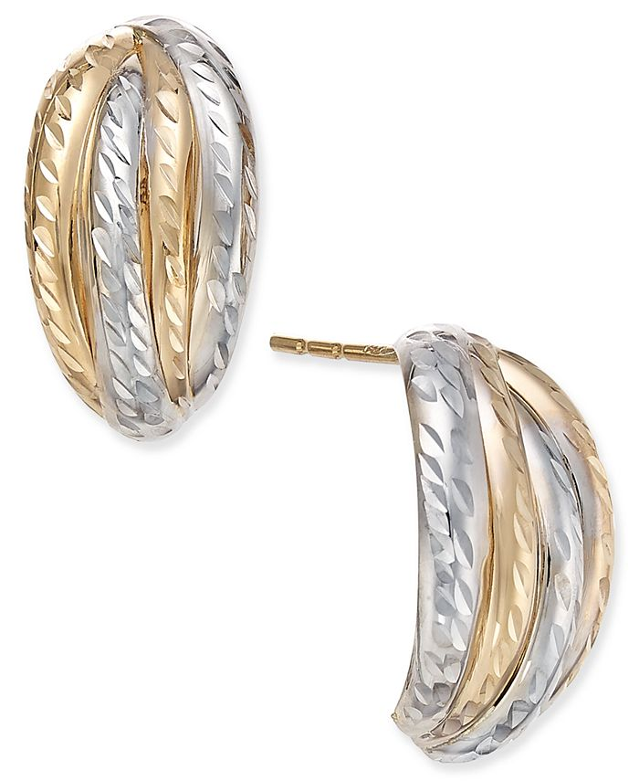 Macy's - Two-Tone Textured Stud Earrings in 10k Yellow and White Gold