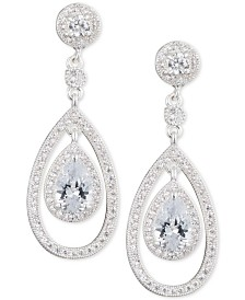 Anne Klein Crystal and Pavé Orbital Drop Earrings