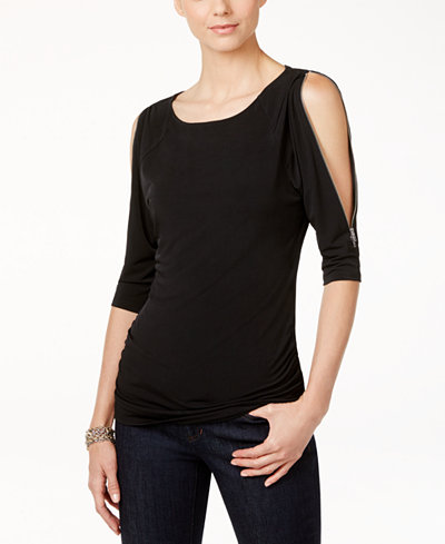 I.N.C. Cold-Shoulder Zipper Top, Created for Macy's