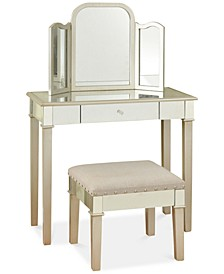 Morgen Makeup Vanity with Trifold Mirror