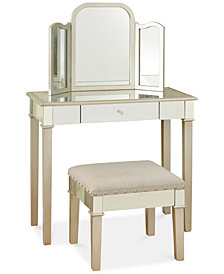 Morgen Makeup Vanity with Trifold Mirror, Quick Ship