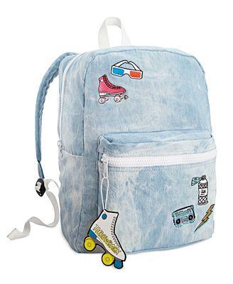twelveNYC Juniors' Patch Denim Backpack - Handbags & Accessories ...