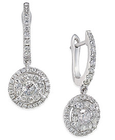 Diamond Circle Drop Earrings (3/4 ct. t.w.) in 14k White Gold